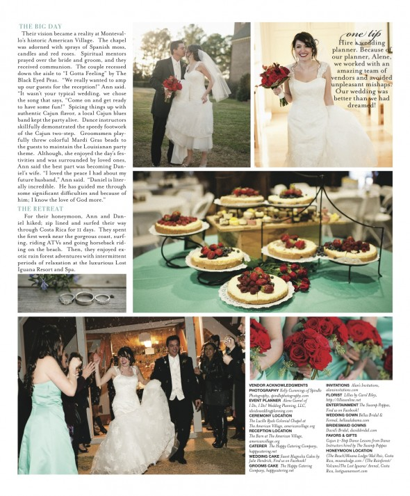 Ann Baldone and Daniel Gallegly in Southern Bride Alabama Fall 2012