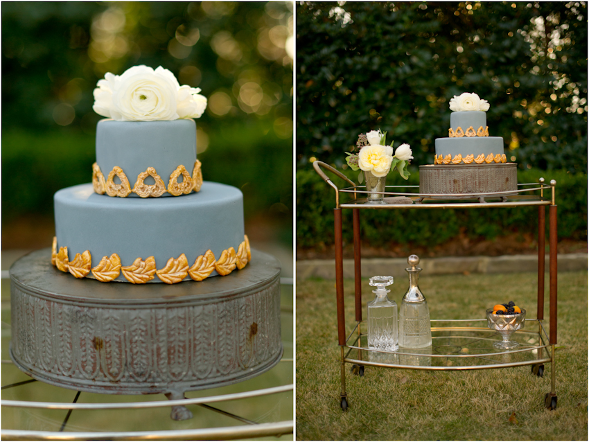 Blue and gold cake by Uprising Cakes // Spindle Photography
