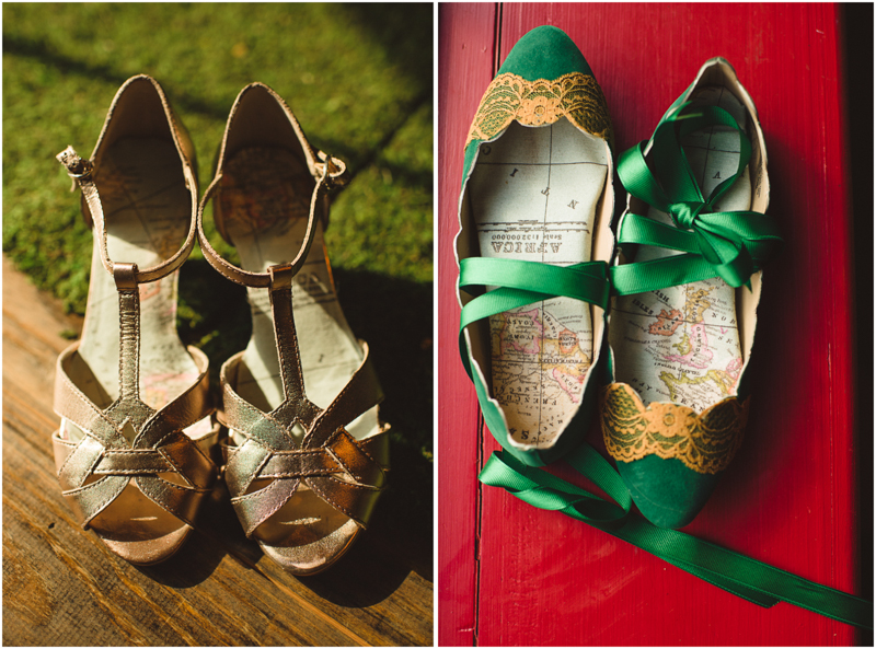 Green and gold wedding shoes // Spindle Photography